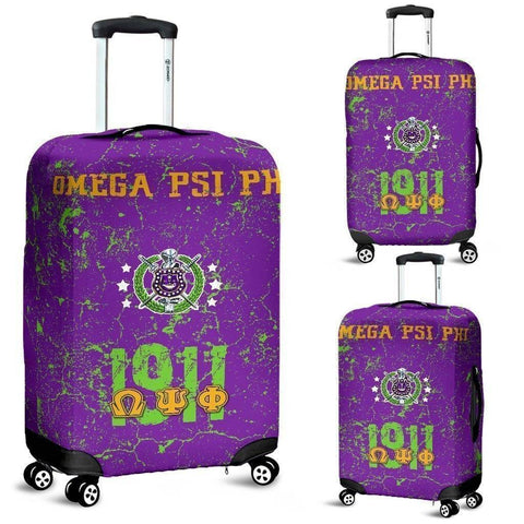 Image of Omega Psi Phi Luggage Bag Cover - Unique Greek Store