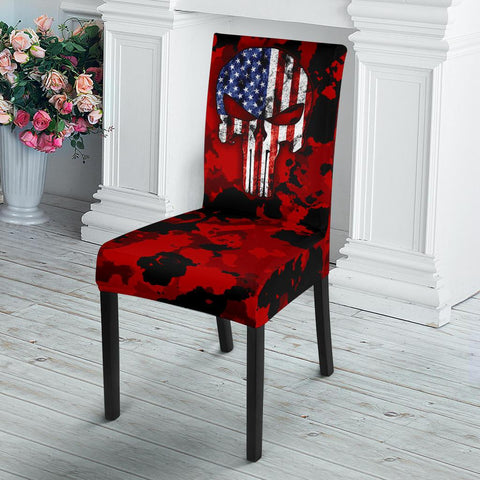 Image of Patriotic Skull Dining Chair Slip Cover