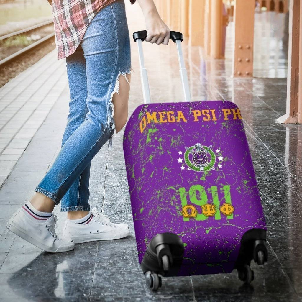 Omega Psi Phi Luggage Bag Cover - Unique Greek Store
