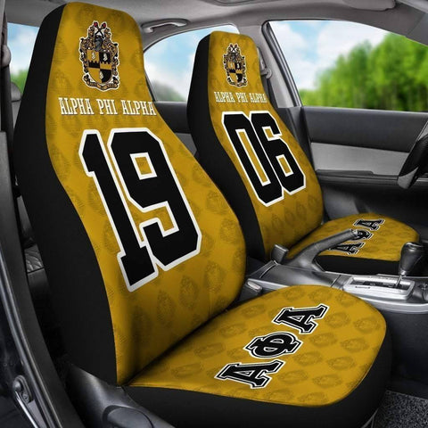 Image of Alpha Phi Alpha Founding Year and Initials Carseat Covers - Unique Greek Store