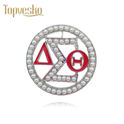 Image of Delta Sigma Theta Round Shape Brooches