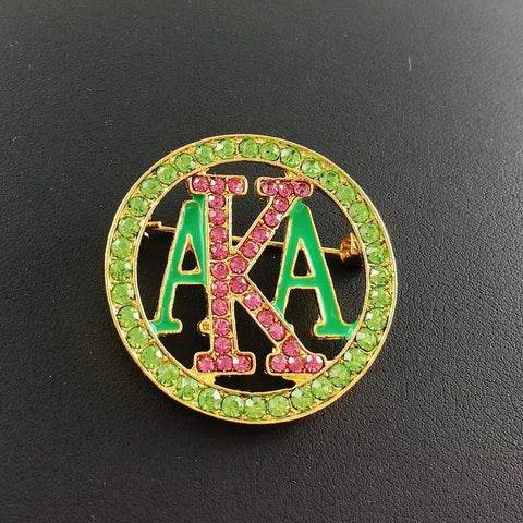Alpha Kappa Alpha Green and Pink Brooches - Unique Greek Store