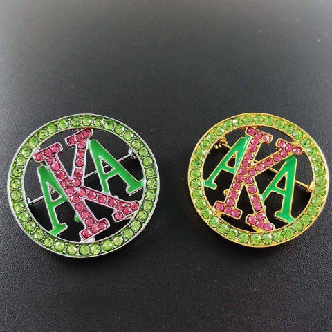 Image of Alpha Kappa Alpha Green and Pink Brooches