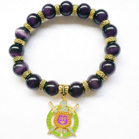 Image of Omega Psi Phi Natural Stone Charm Bracelet - Unique Greek Store