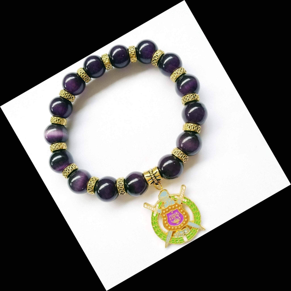 Omega Psi Phi Natural Stone Charm Bracelet - Unique Greek Store