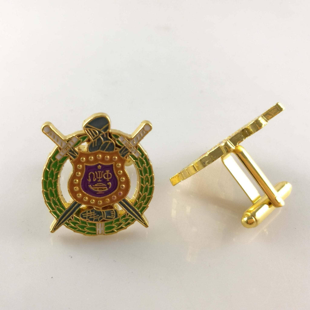 Omega Psi Phi Shield Cufflinks - Unique Greek Store