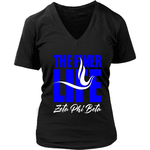 Zeta Phi Beta Tagline District Womens V-Neck - Unique Greek Store