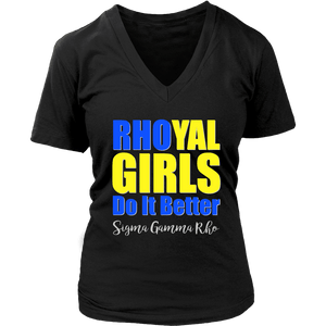 Sigma Gamma Rho Tagline District Womens V-Neck - Unique Greek Store