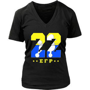 Sigma Gamma Rho  Founding Year District Womens V-Neck - Unique Greek Store