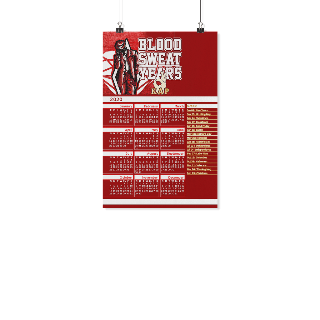 Kappa Alpha Psi Blood Sweat 2019 Year Calendar