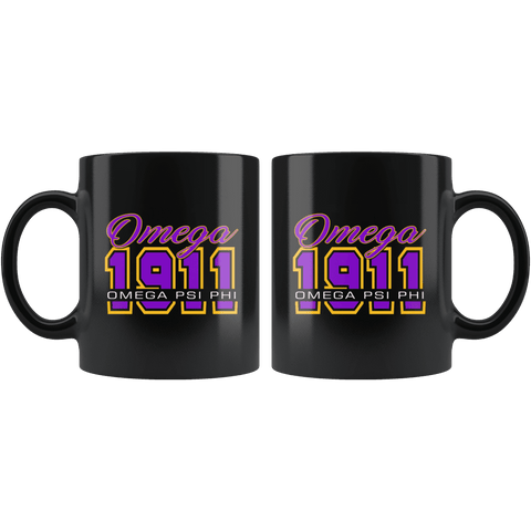 Image of Omega Psi Phi Black Mug - Unique Greek Store