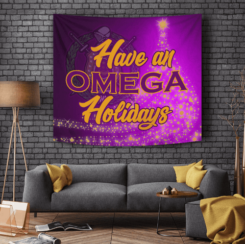 Image of Omega Psi Phi Christmas Holidays Tapestry