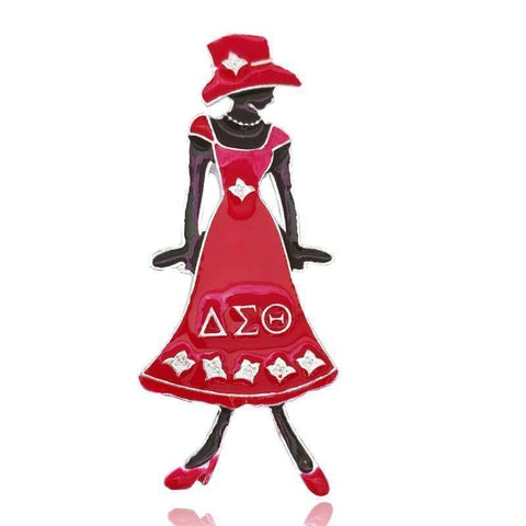 Delta Sigma Theta Diva  Lady In Red dress  Greek Sister  Pin - Unique Greek Store