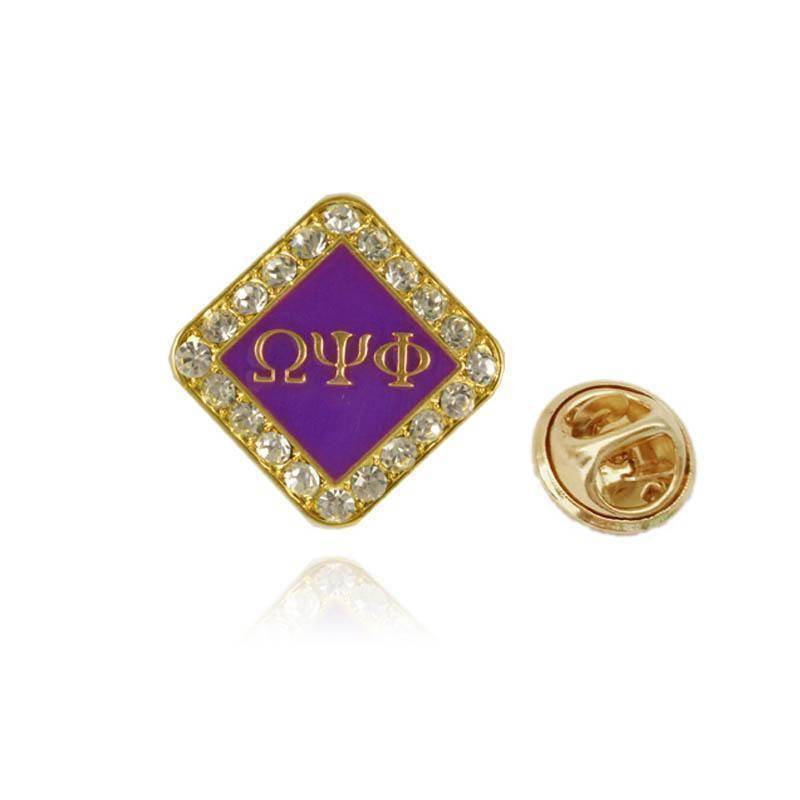 a8891749 Omega Psi Phi Divine Fraternity Crystal Pin Jewelry - Unique Greek Store