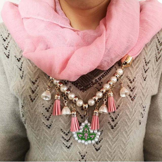 Alpha Kappa Alpha Scarf  Necklace  with Pearl Hat - Unique Greek Store