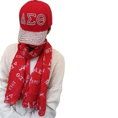 Image of Delta Sigma Theta Greek Letter Scarf with Baseball Cap - Unique Greek Store