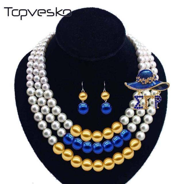 Sigma Gamma Rho Blue Beaded Pearl Necklace - Unique Greek Store