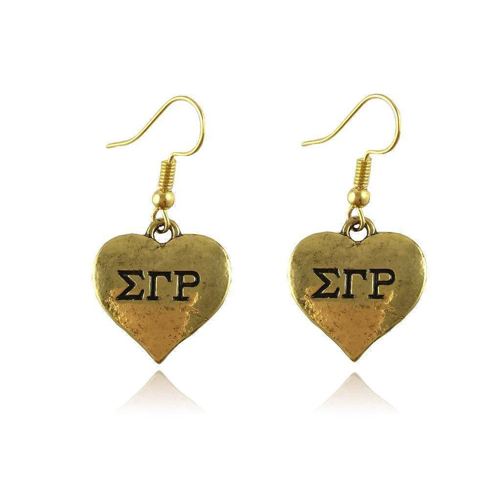 Sigma Gamma Rho Heart Shape Earring - Unique Greek Store