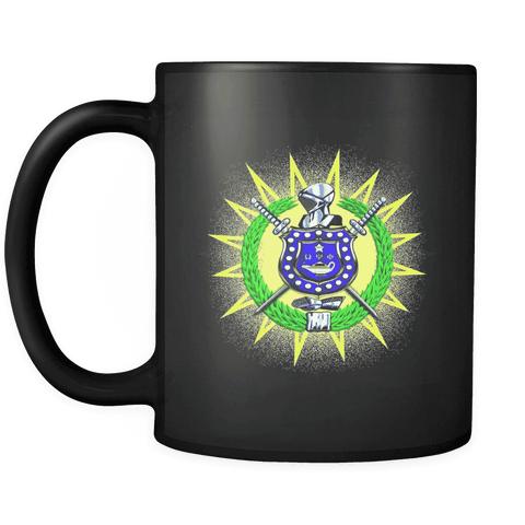 Omega Psi Phi Black 11oz Mug - Unique Greek Store