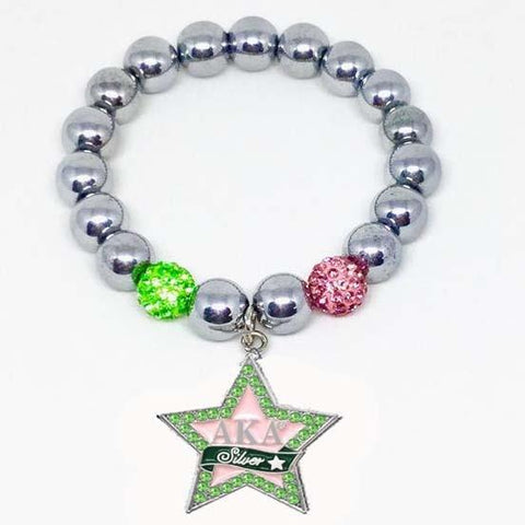 Image of Alpha Kappa Alpha Silver Star Colored Bracelet