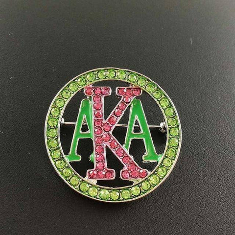 Alpha Kappa Alpha Green and Pink Brooches