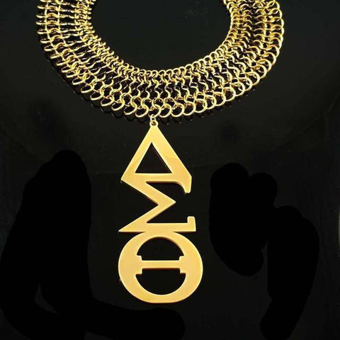 Image of Delta Sigma Theta Stainless Steel Gold Necklace - Unique Greek Store