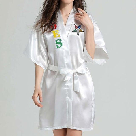 Image of Order of the Eastern Star Lace Satin Bathrobe