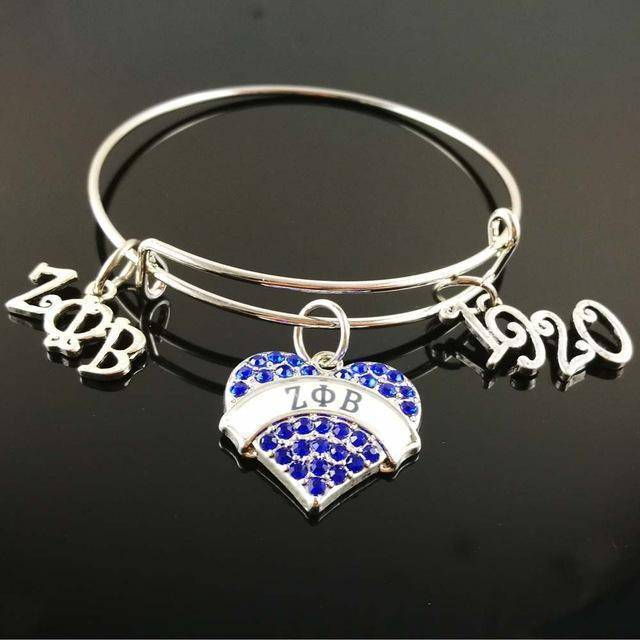 Zeta Phi Beta Blue Heart Bangle - Unique Greek Store
