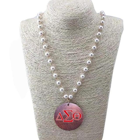 Image of Delta Sigma Theta Wooden Disc Pearl Necklace