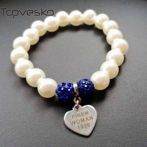 Zeta Phi Beta Blue and White Pearl Bracelet - Unique Greek Store
