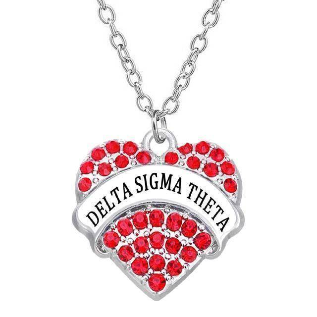 Delta Sigma Theta Heart Shaped Necklace - Unique Greek Store