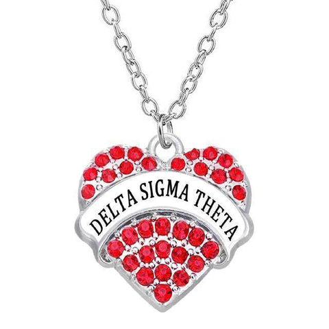 Image of Delta Sigma Theta Heart Shaped Necklace - Unique Greek Store