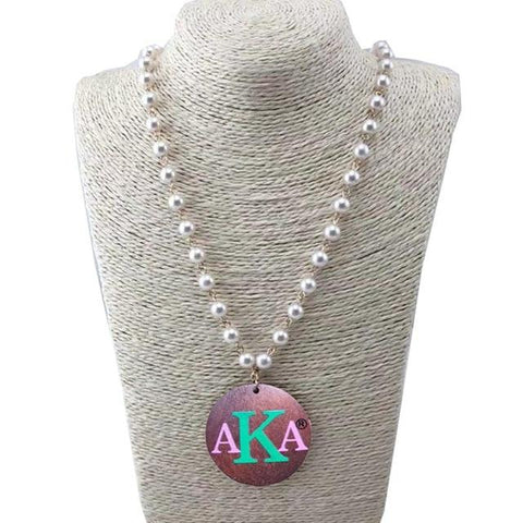 Image of Alpha Kappa Alpha Wooden Disc Pearl Necklace