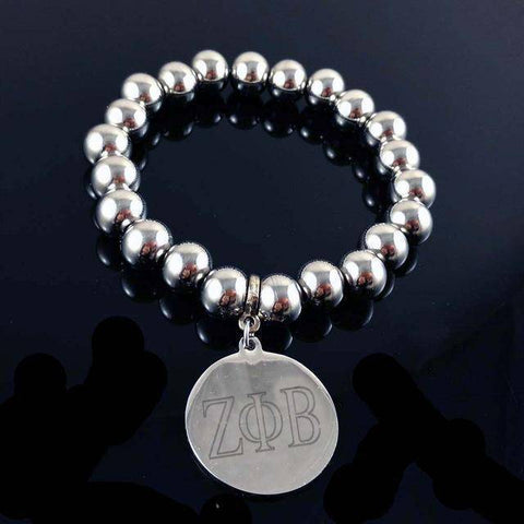 Zeta Phi Beta Stainless Steel Beaded Bracelet