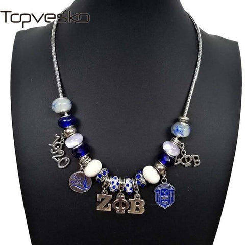 Zeta Phi Beta Rhinestone Jewelry Necklace