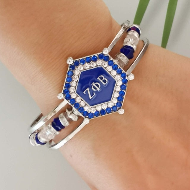 Zeta Phi Beta Charm Bead Cuff Bangle