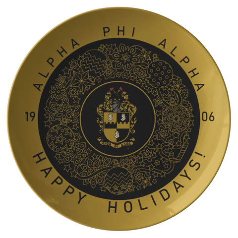 Image of Alpha Phi Alpha Christmas Plate - Unique Greek Store