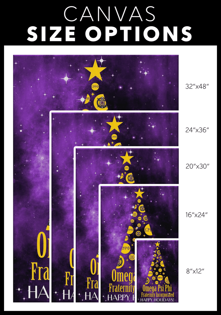Omega Psi Phi Christmas Wall Canvas - Unique Greek Store