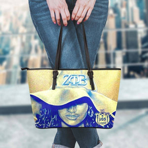Zeta Phi Beta Leather Tote - Unique Greek Store