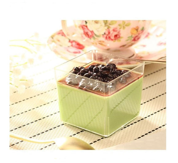 方形慕斯杯 MY5550 120cc Brown Sweet Plastic Square Mousse Cup with Lid 10ct/pk