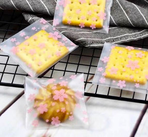 粉色櫻花自黏袋95入 Cherry Bloosom cookie OPP Plastic Bag 95ct