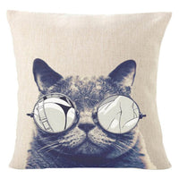 Cat Graphics 18-Inch Cotton Linen Throw Pillow Cover - CAT 4