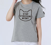 EAST KNITTING CD-H1310 Summer Fashion Stop Stressing Meowt Love Cats T Shirt Women Punk Tees