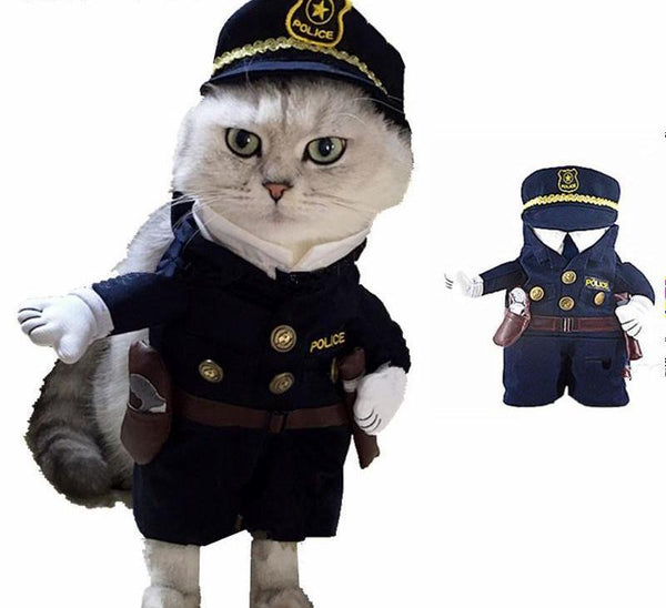 Funny Cat Fashion Policeman Costume