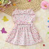 Adorable Floral Cat Fashion Party Dress Front