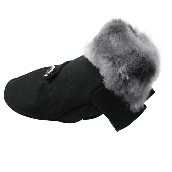 Winter Cat Fashion Jacket With Woolen Fur Collar Black