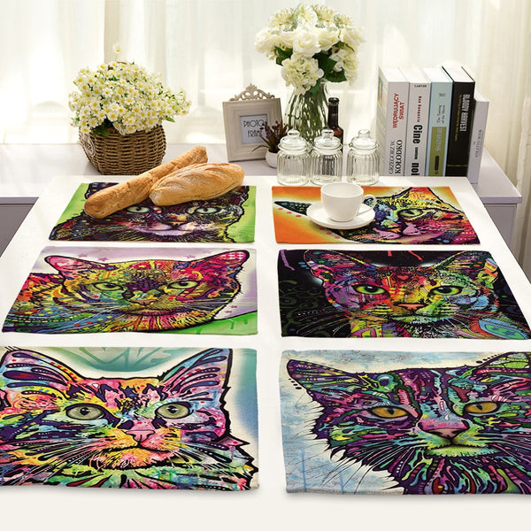 Colorful Cat Placemats Grouping of Six Designs