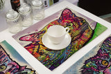 Colorful Cat Placemats Design with Cup