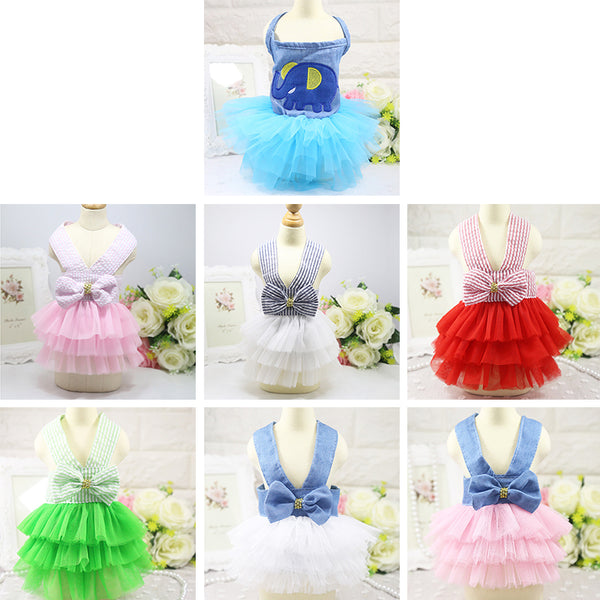 Festive Summer Bowknot Cat Fashion Tutu Dress