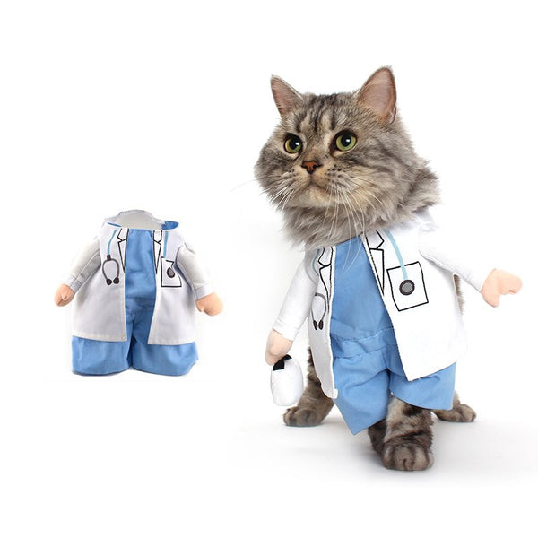 Funny Cat Fashion Doctor Costume